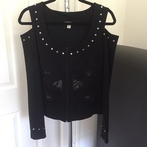 Boston proper mesh stud cold shoulder zip up